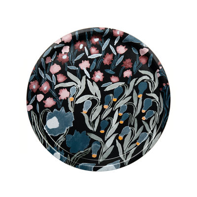 Tableware - Trays - Louhi Tray - / Wood - Ø 31 cm by Marimekko - Louhi /Black, blue & red - Laminated birch