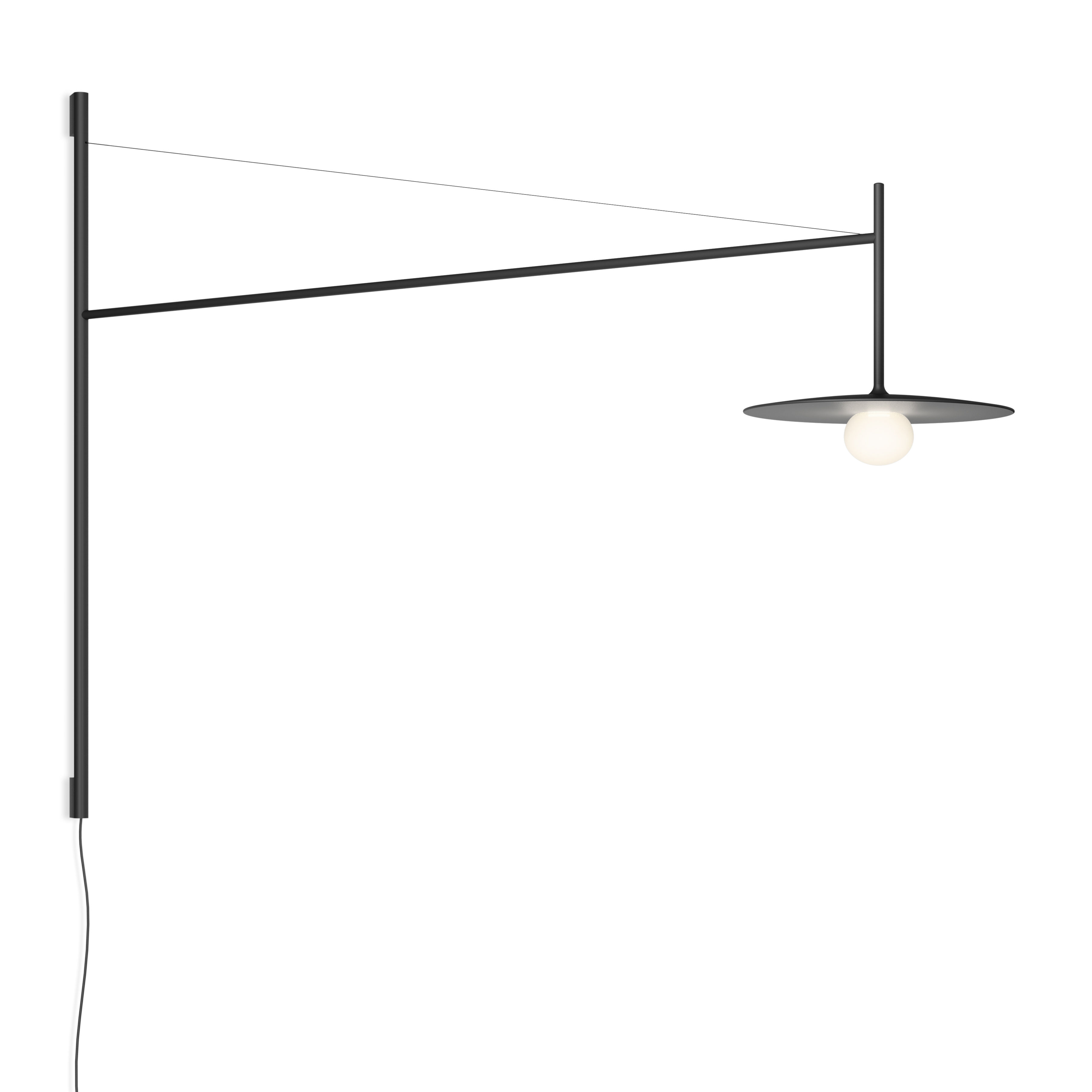 Lighting - Wall Lights - Tempo Disque Wall light with plug - / LED - Swivel arm L 122 cm by Vibia - Disc / Graphite grey - Blown glass, Lacquered aluminium, Lacquered steel