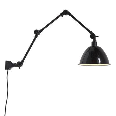 Luminaire - Appliques - Applique avec prise Amsterdam Large / Abat-jour métal - L 100 cm - It's about Romi - Noir - Fer