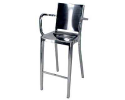 Furniture - Bar Stools - Hudson Indoor Bar chair - Armrests - H 75 cm - Metal by Emeco - Polished aluminium - Recycled polished aluminium