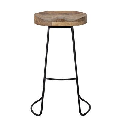 Furniture - Bar Stools - Nature Bar stool - / Wood & metal - H 73 cm by Bloomingville - Natural wood / Black - Mango tree, Painted iron