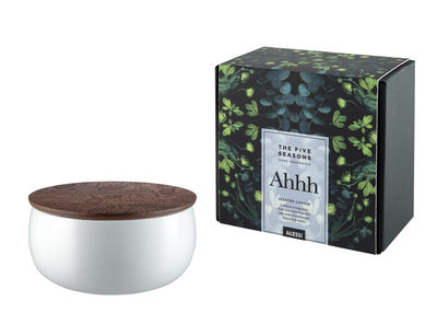 Bougie parfumée The Five Seasons / Porcelaine - H 7,5 cm - Alessi blanc,bois naturel en céramique