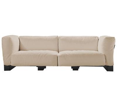 Canapé droit Pop Duo / structure noire - L 255 cm - Kartell ecru en tissu
