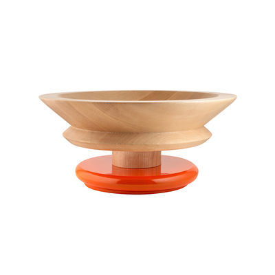 Centre de table / By Ettore Sottsass / Alessi 100 Values Collection - Alessi orange/bois naturel en bois