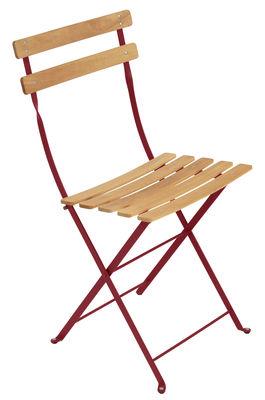 Chaise pliante Bistro / Métal & bois - Fermob bois,piment en bois