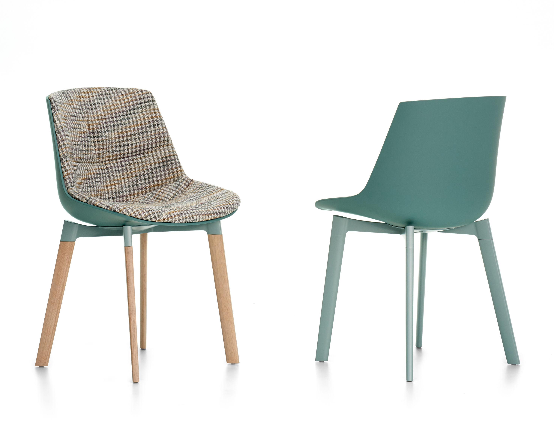 Chaise rembourr e flow color mdf italia bleu tissu pied de poule ch ne l 54 x h 80 5 for Chaise 3 pieds