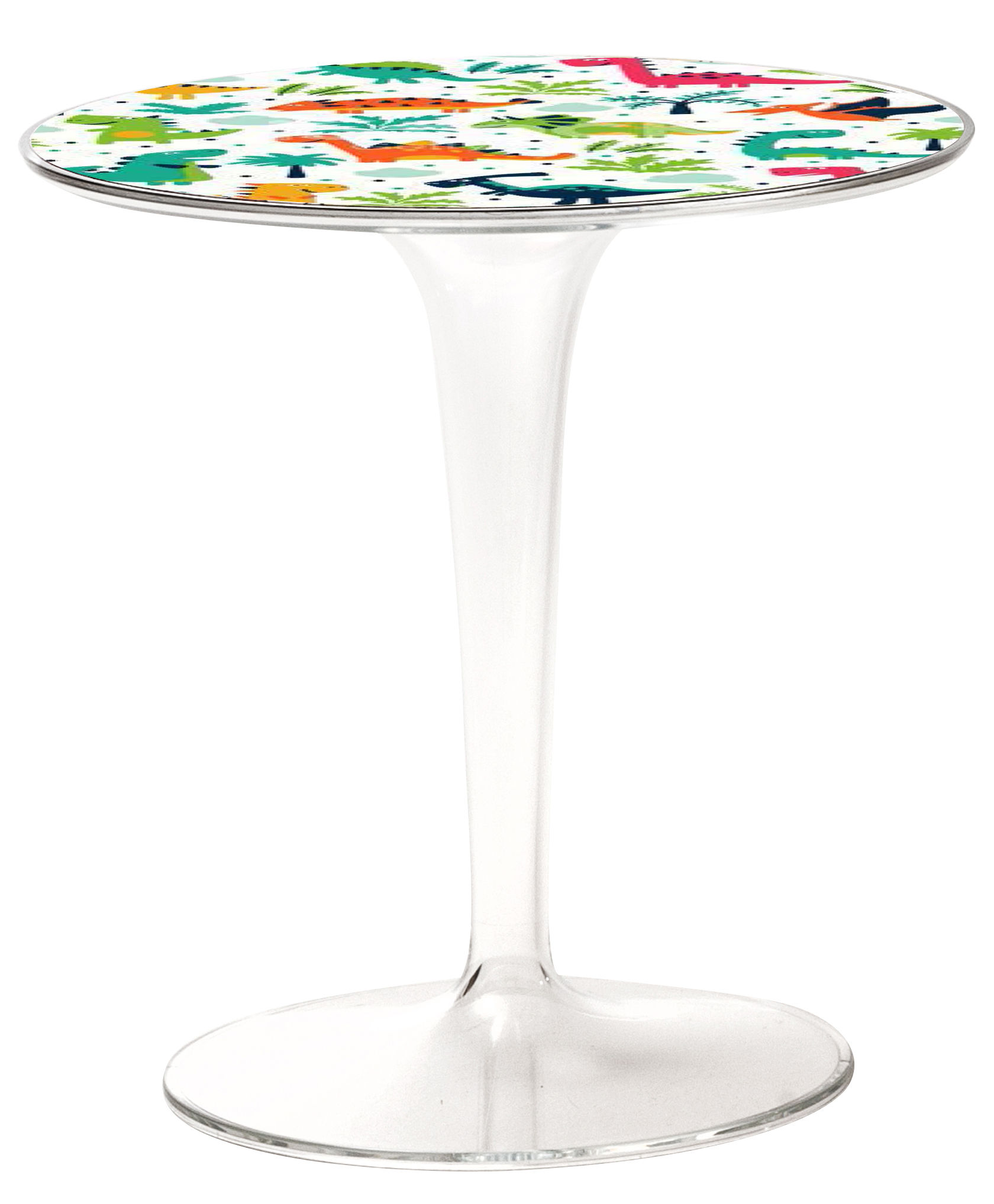 Furniture - Coffee Tables - Tip Top KIDS Children table - / Patterns by Kartell - Dinosaurs / Transparent leg - PMMA