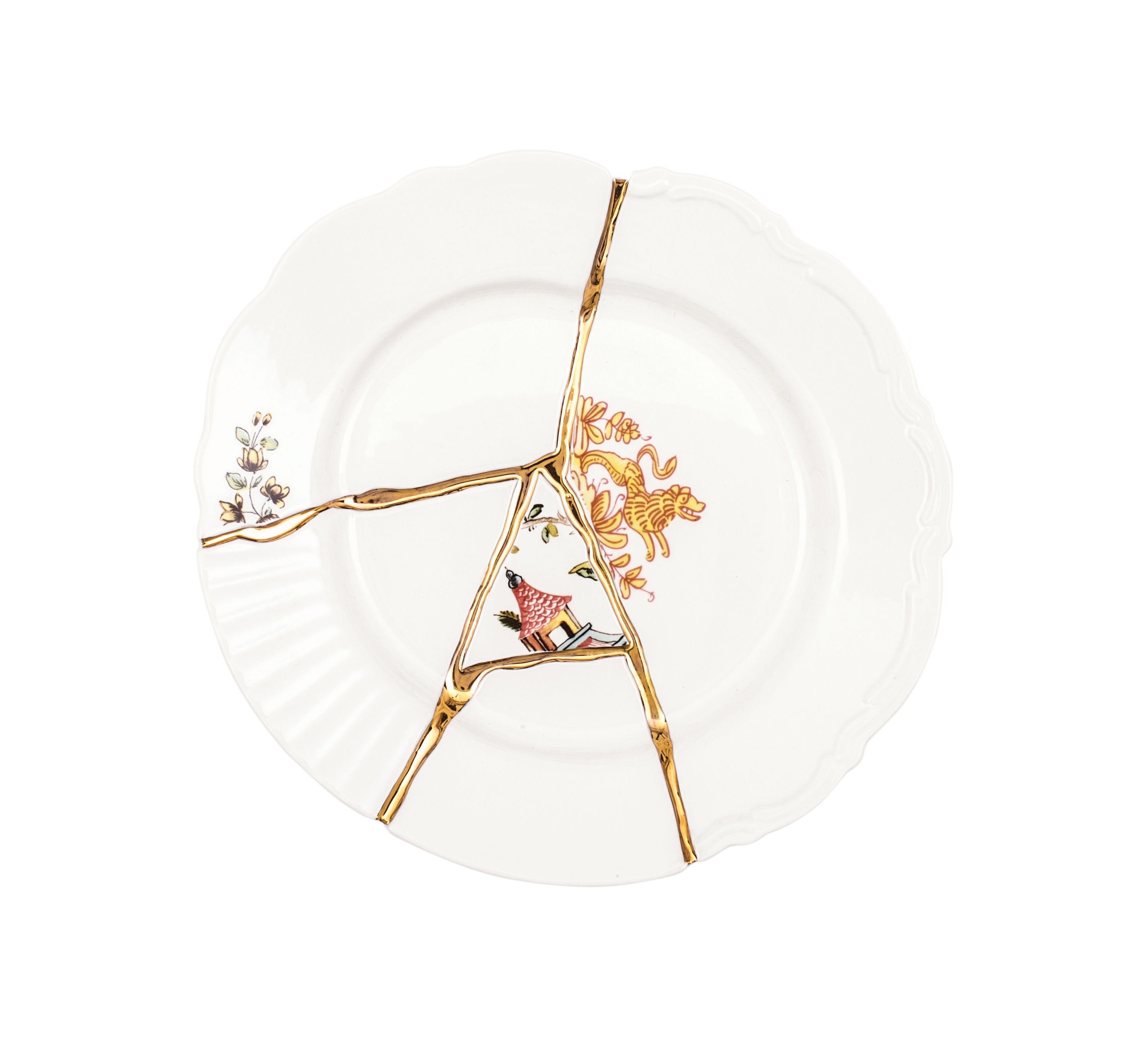 Tableware - Plates - Kintsugi Dessert plate - / Porcelaine & or fin by Seletti - Blanc & or / Motifs multicolores - China, Gold