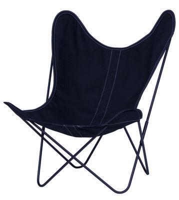Chaise AA Butterfly toile / Structure noire - AA-New Design bleu nuit en tissu
