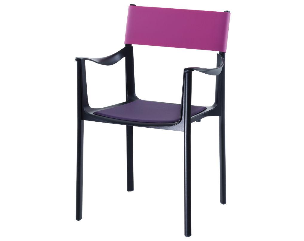 Mobilier - Chaises, fauteuils de salle à manger - Fauteuil empilable Venice / Métal & dossier gomme - Magis - Structure noire / Dossier fuchsia - Aluminium verni, Gomme de polyuréthane