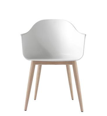 Chaise Harbour / Polycarbonate - Pieds bois - Menu blanc/bois naturel en matière plastique/bois