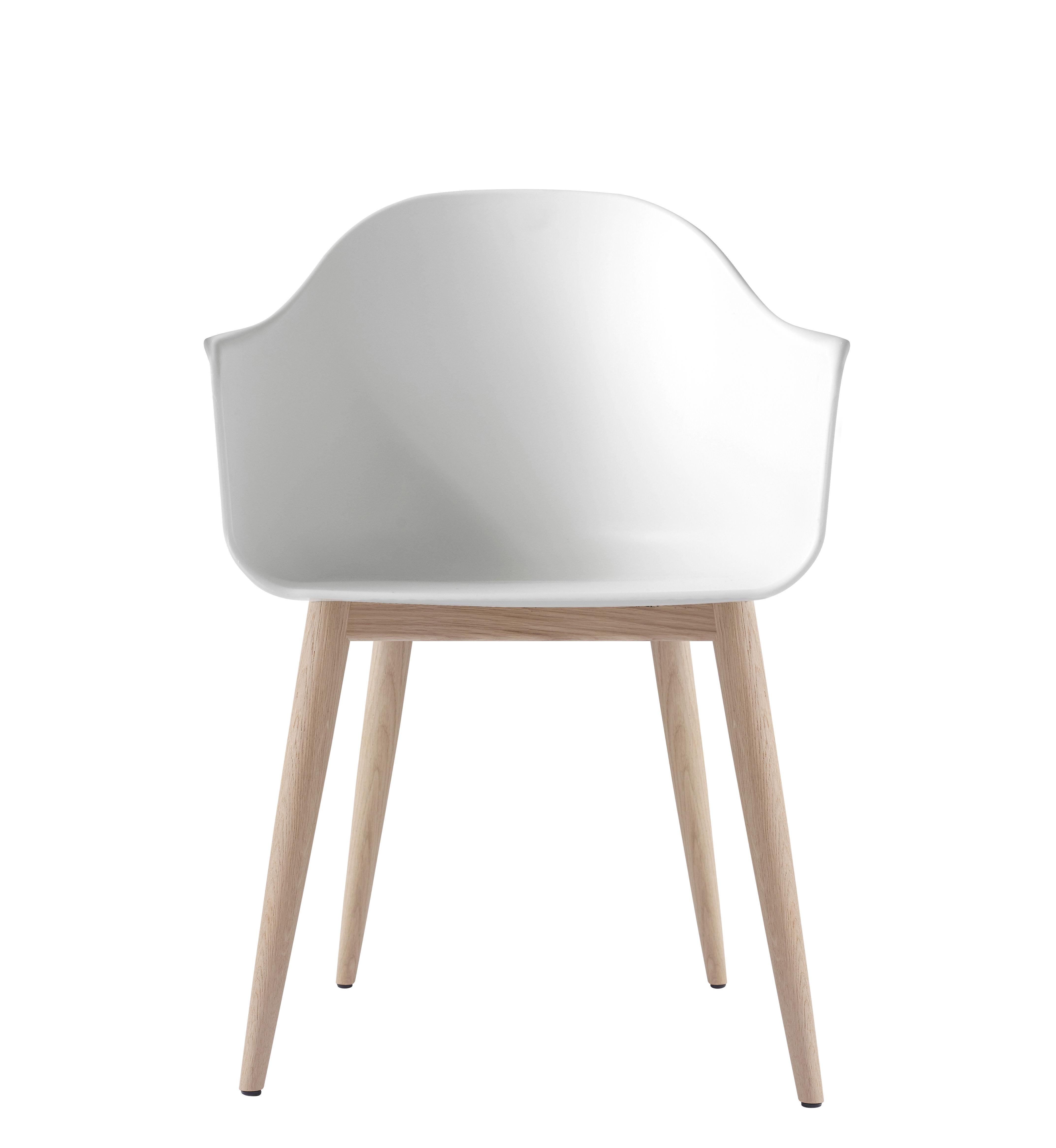Mobilier - Chaises, fauteuils de salle à manger - Fauteuil Harbour / Polycarbonate - Pieds bois - Menu - Blanc / Pieds chêne - Chêne naturel, Polycarbonate