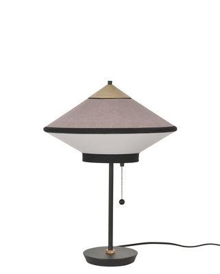 Lampe de table Cymbal / Ø 35 cm - Velours - Forestier chêne naturel,rose poudré en tissu