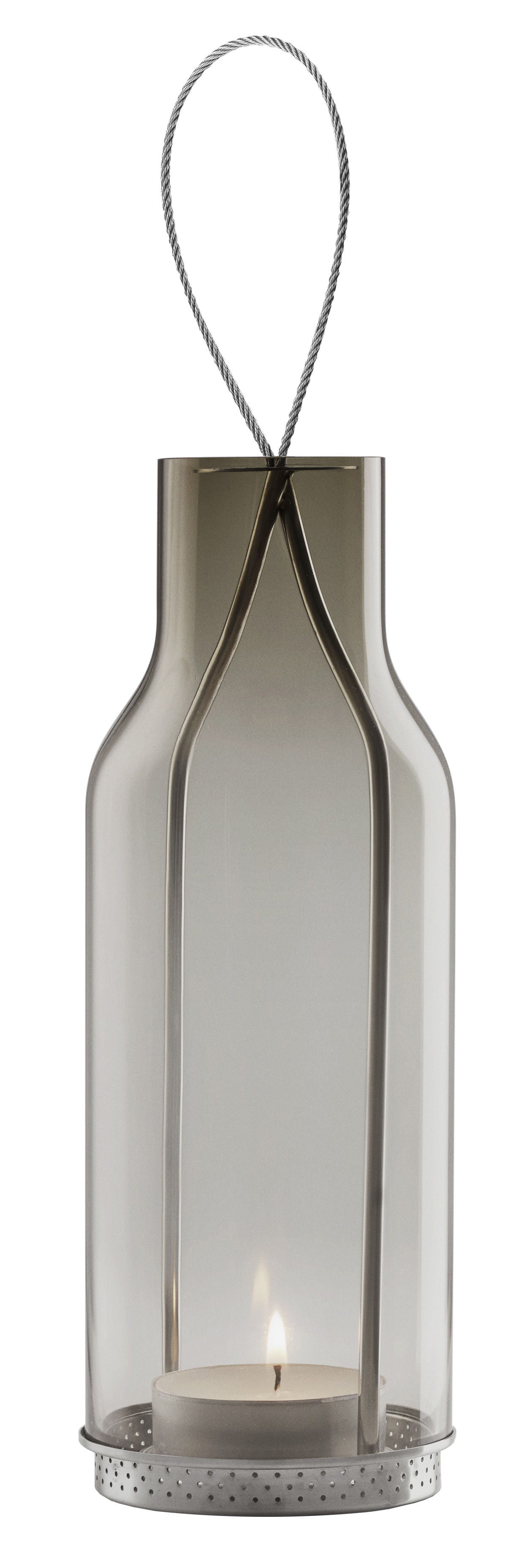 Outdoor - Ornaments & Accessories - Lantern by Eva Solo - Somcked Grey - Mouth blown glass, Stainless steel