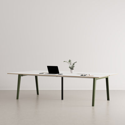 Furniture - Office Furniture - New Modern open space desk - / 4-seat XL - 280 x 140 cm / Laminate & black central leg by TIPTOE - Rosemary Green / Black central leg - Powder coated steel, Stratified