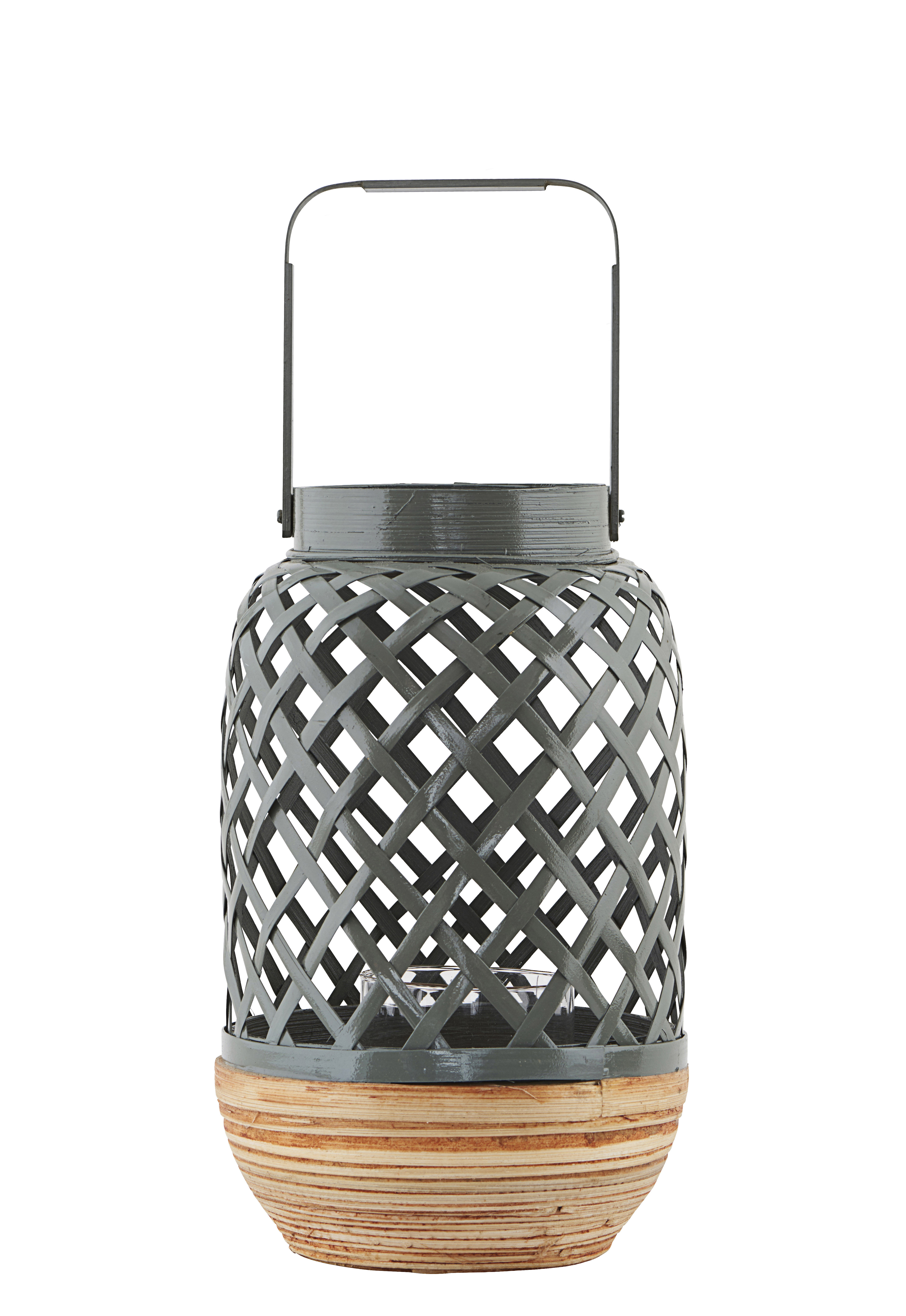 Déco - Bougeoirs, photophores - Photophore Breeze Small / Bambou - Ø 15 x H 24 cm - House Doctor - Gris - Bambou, Verre
