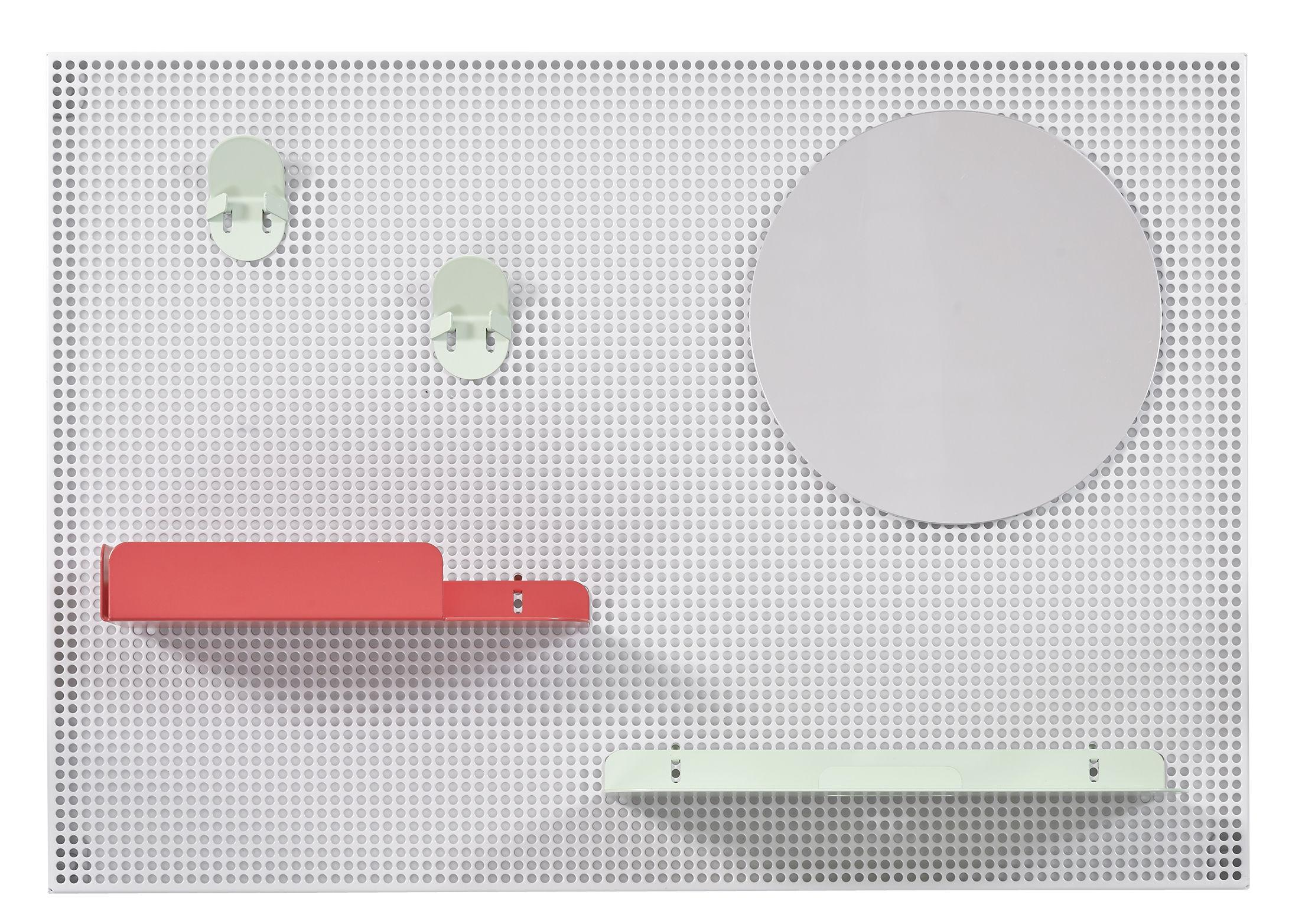 Arredamento - Raccoglitori - Portaoggetti da parete Alfred / 65 x 45 cm - Hartô - Grigio chiaro / Rosso fragola & verde pastello - Acier perforé, metallo laccato