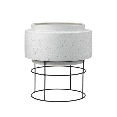 Déco - Pots et plantes - Pot de fleurs Botanique / Ø 50 x H 56 cm - Céramique - Bolia - Ø 50 cm / Gris & noir - Acier, Céramique