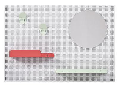 Mobilier - Meubles de rangement - Rangement mural Alfred / 65 x 45 cm - Hartô - Gris clair / Rouge fraise & vert pastel - Acier perforé, Métal laqué