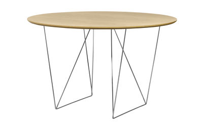 Trends - Take your seat! - Trestle Round table - / Ø 120 cm by POP UP HOME - Oak / Chromed stand - Chromed metal, Honeycomb panels with oak veneer