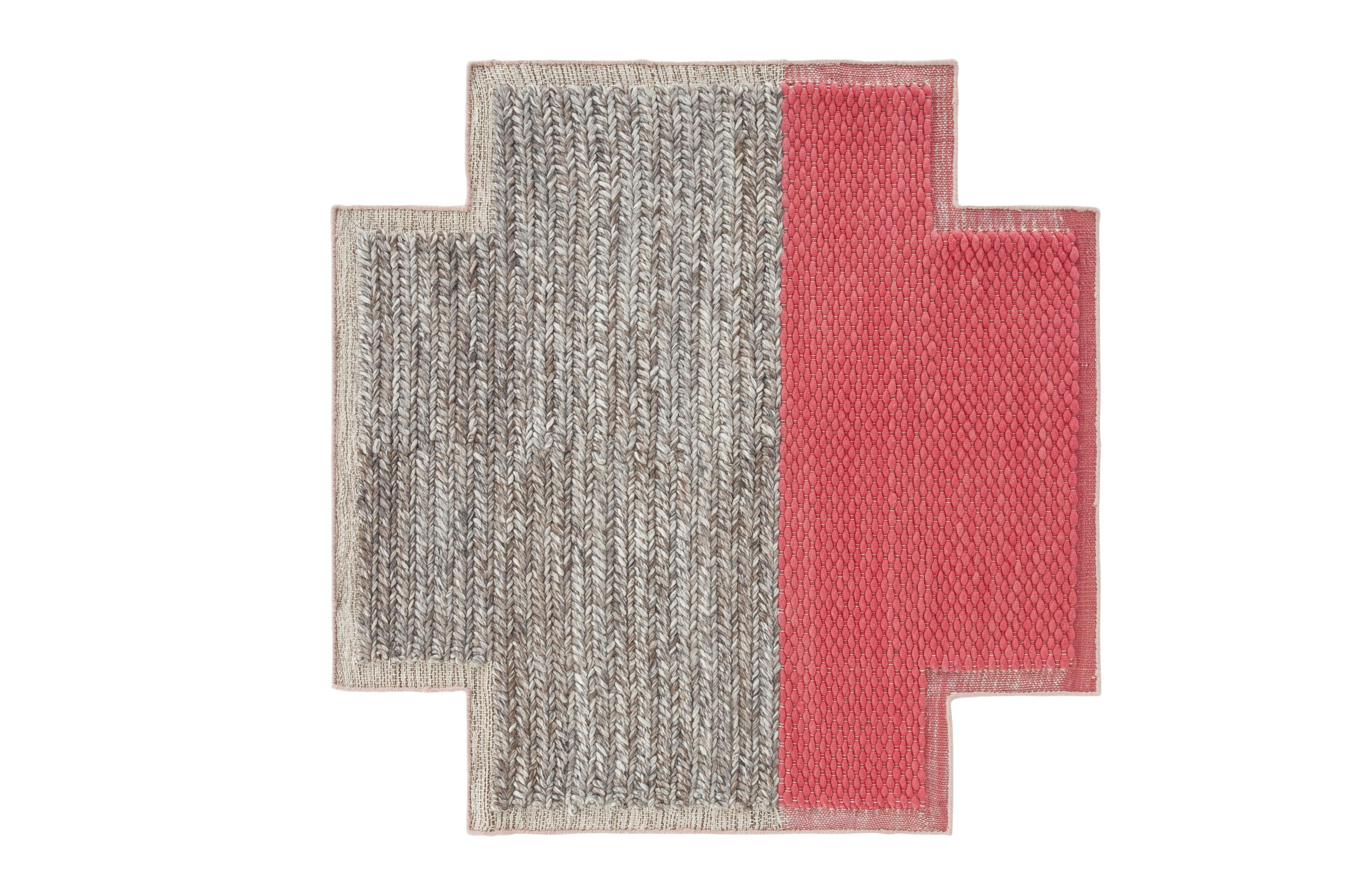 Decoration - Rugs - Mangas Space Plait Rug - / 160 x 160 cm by Gan - Coral - Virgin wool