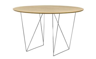 Trends - Essbereich: Neuheiten & Trends - Trestle Runder Tisch / Ø 120 cm - POP UP HOME - Eiche / Fußgestell chrom-glänzend - Spanplatte, eichefurniert, verchromtes Metall
