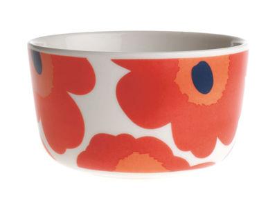 Tischkultur - Salatschüsseln und Schalen - Unikko Schale Ø 9 cm - Marimekko - Ø 9 cm - Unikko - Weiß & rot - emailliertes Porzellan