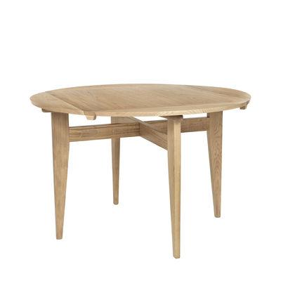 Mobilier - Tables - Table à rallonge B-Table / Réédition 1950 / Plateau transformable rond ou carré : 85 x 85 ou Ø 116 cm - Gubi - Chêne - Chêne massif, Contreplaqué de chêne
