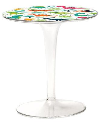 Mobilier - Tables basses - Table enfant Tip Top KIDS / Plateau décoré - Kartell - Motifs Dinoasures / Pied transparent - PMMA
