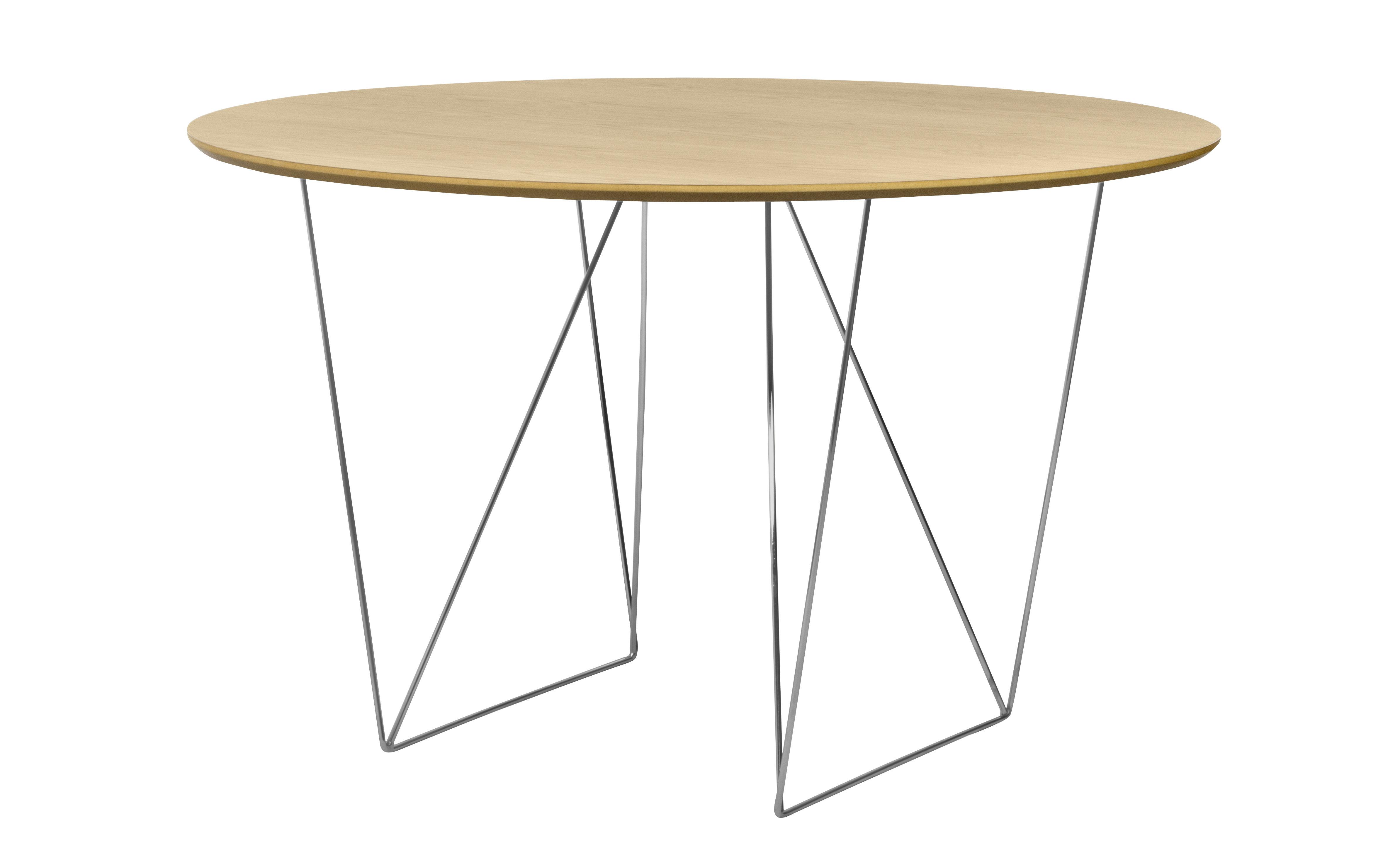 Tendances - Espace Repas - Table Trestle / Ø 120 cm - POP UP HOME - Chêne / Pied chromé - Métal chromé, Panneaux d'aggloméré plaqué chêne