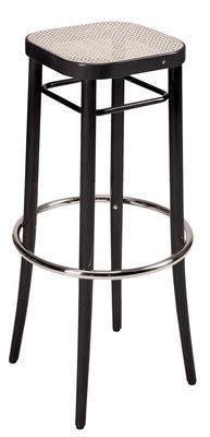 Tabouret haut Vienna 144 / H 85 cm, assise cannée - Réédition 1908 - Wiener GTV Design noir,paille naturelle en fibre végétale