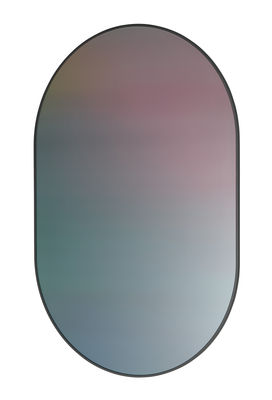 Decoration - Mirrors - Ovale Wall mirror - / Printed reflective glass - h 84 cm by Fritz Hansen - Glass / Ocean - Lacquered MDF, Printed glass