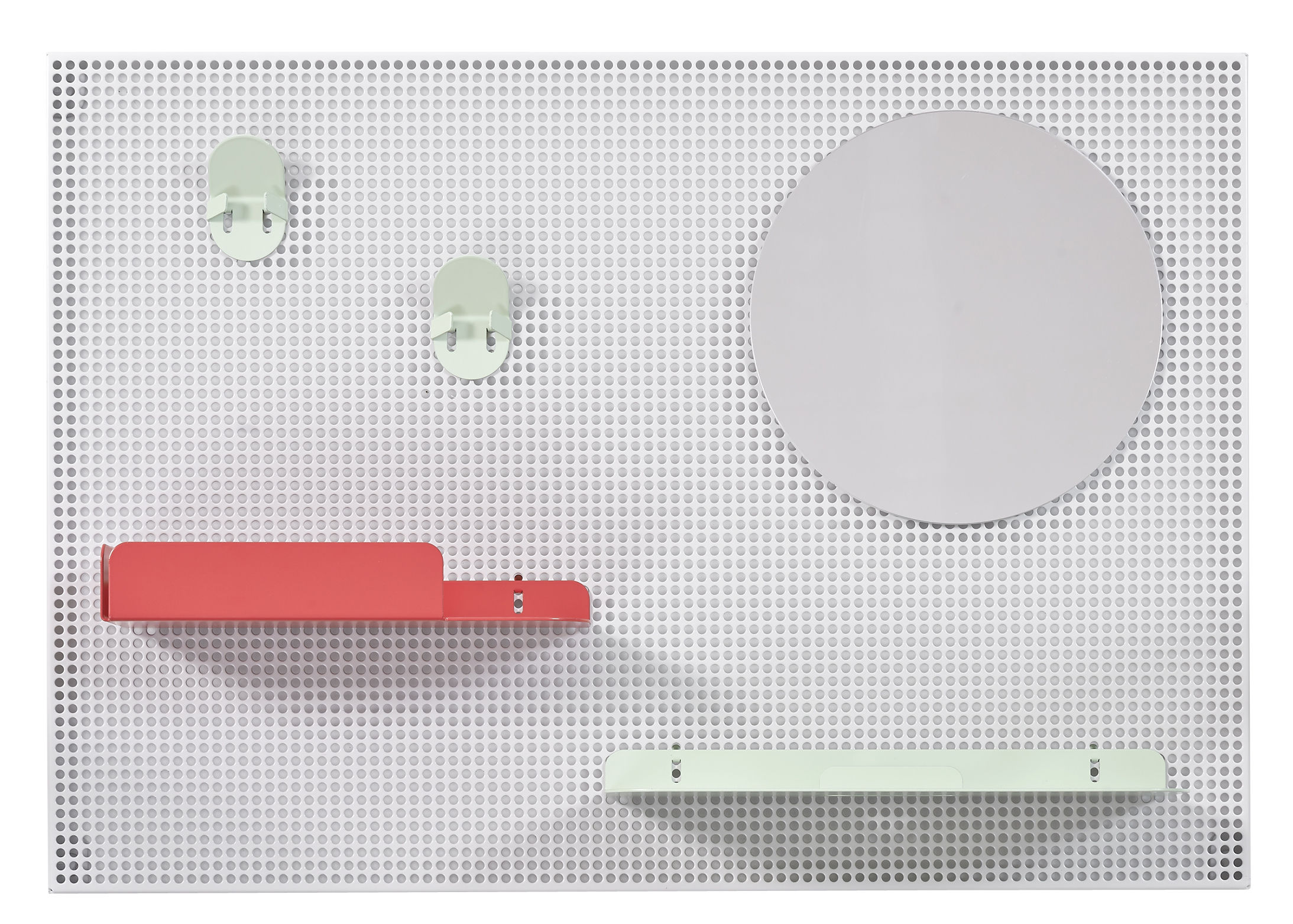 Furniture - Shelves & Storage Furniture - Alfred Wall storage - 65 x 45 cm by Hartô - Light grey / Red Strawberry & pastel green - Lacquered metal, Perforated steel