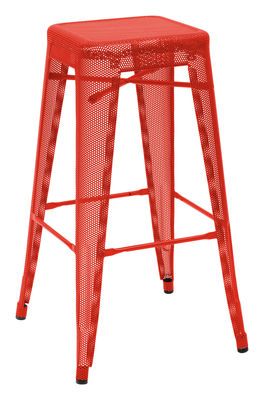 Furniture - Bar Stools - H Perforé Bar stool - H 75 cm - Glossy color by Tolix - Red - Lacquered recycled steel