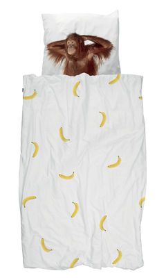 Decoration - Bedding & Bath Towels - Banana Monkey Bedlinen set for 1 person - / 135 x 200 cm by Snurk - Banana & Monkey - Cotton percale