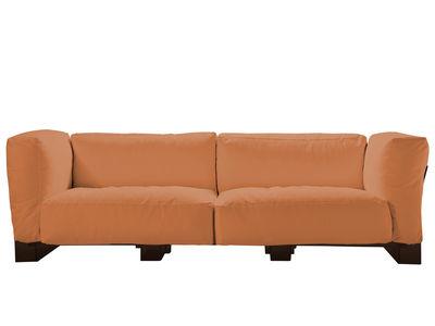 Canapé droit Pop Duo / structure noire - L 255 cm - Kartell orange en tissu