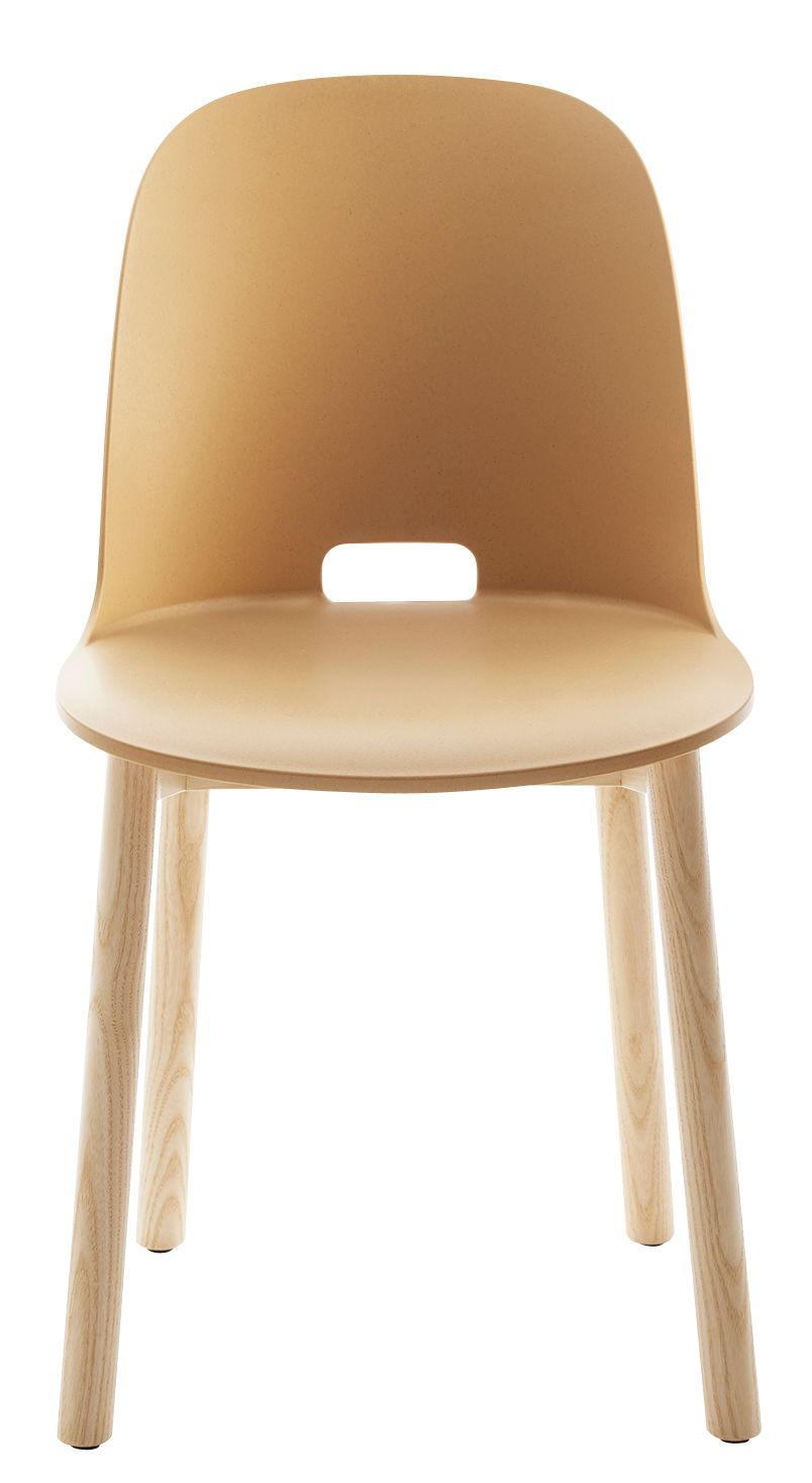 Chaise Alfi / Piètements frêne - Emeco beige en matière plastique/bois