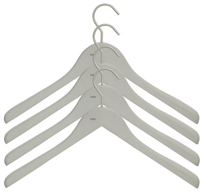 Cintre Soft Coat Large / Set de 4 - Hay gris en bois