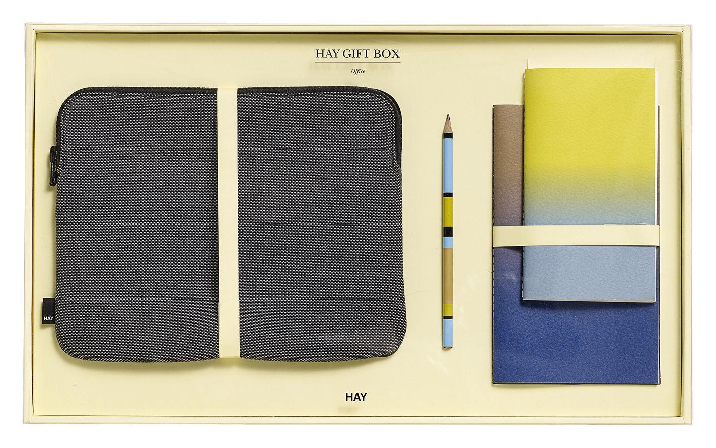 Accessoires - Accessoires bureau - Coffret Bureau Large / 1 housse pour tablette, 2 carnets, 1 crayon - Hay - Gris foncé / Multicolore - Bois, Laine, Nylon, Papier