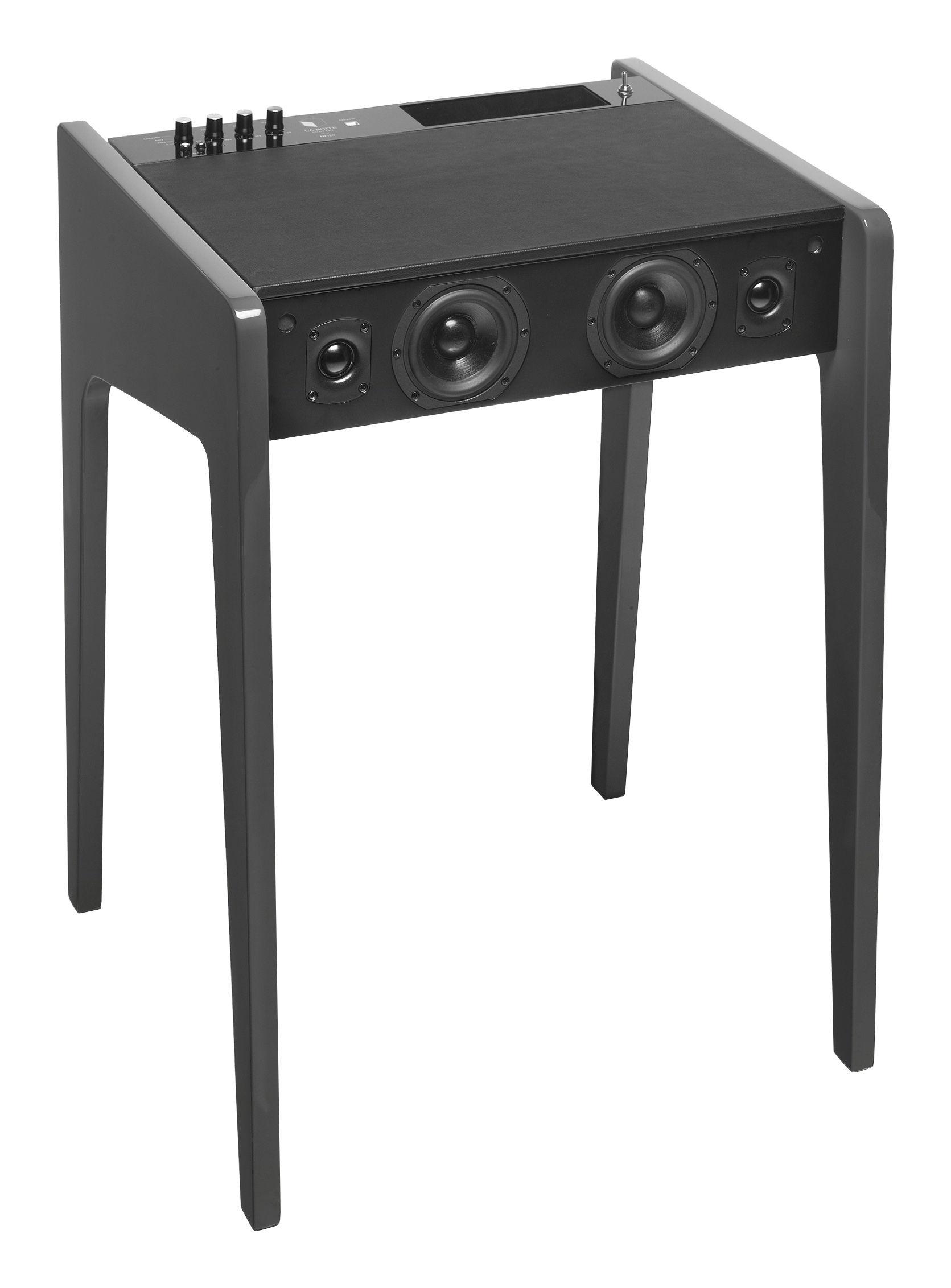 Interni - High Tech - Cassa stereo Blueooth LD 120 / Per computer portatile, iPod, iPhone - L 57 cm - La Boîte Concept - Antracite - MDF, Multiplex laccato, Pelle