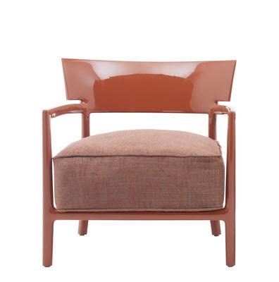 Mobilier - Chaises, fauteuils de salle à manger - Fauteuil Cara Solid Color / Tissu - Kartell - Rouge orangé / Tissu rouge orangé - Polycarbonate, Polyuréthane, Tissu