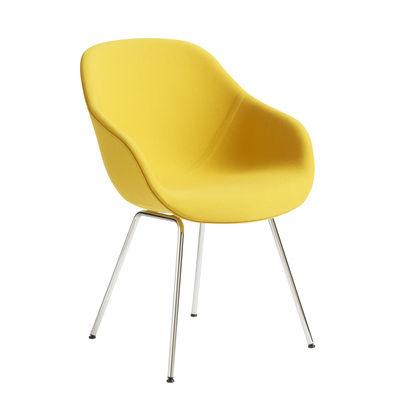 Mobilier - Chaises, fauteuils de salle à manger - Fauteuil rembourré About a chair AAC127 / Dossier haut - Tissu intégral & métal - Hay - Tissu jaune / Pieds chromés - Acier thermolaqué, Mousse polyuréthane, Polypropylène renforcé, Tissu