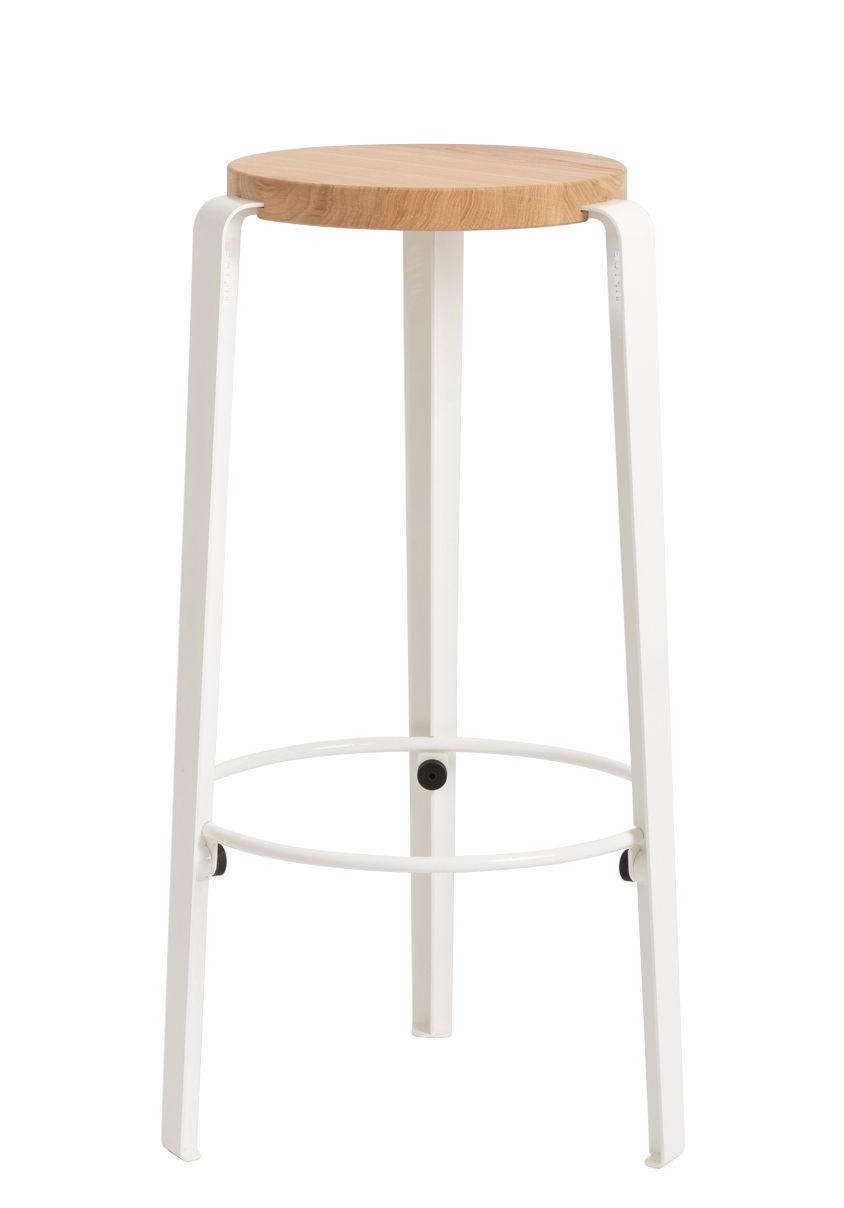 Furniture - Bar Stools - Big Lou High stool - / H 76 cm - Steel & oak by TipToe - Cloud white - Powder coated steel, Solid oak