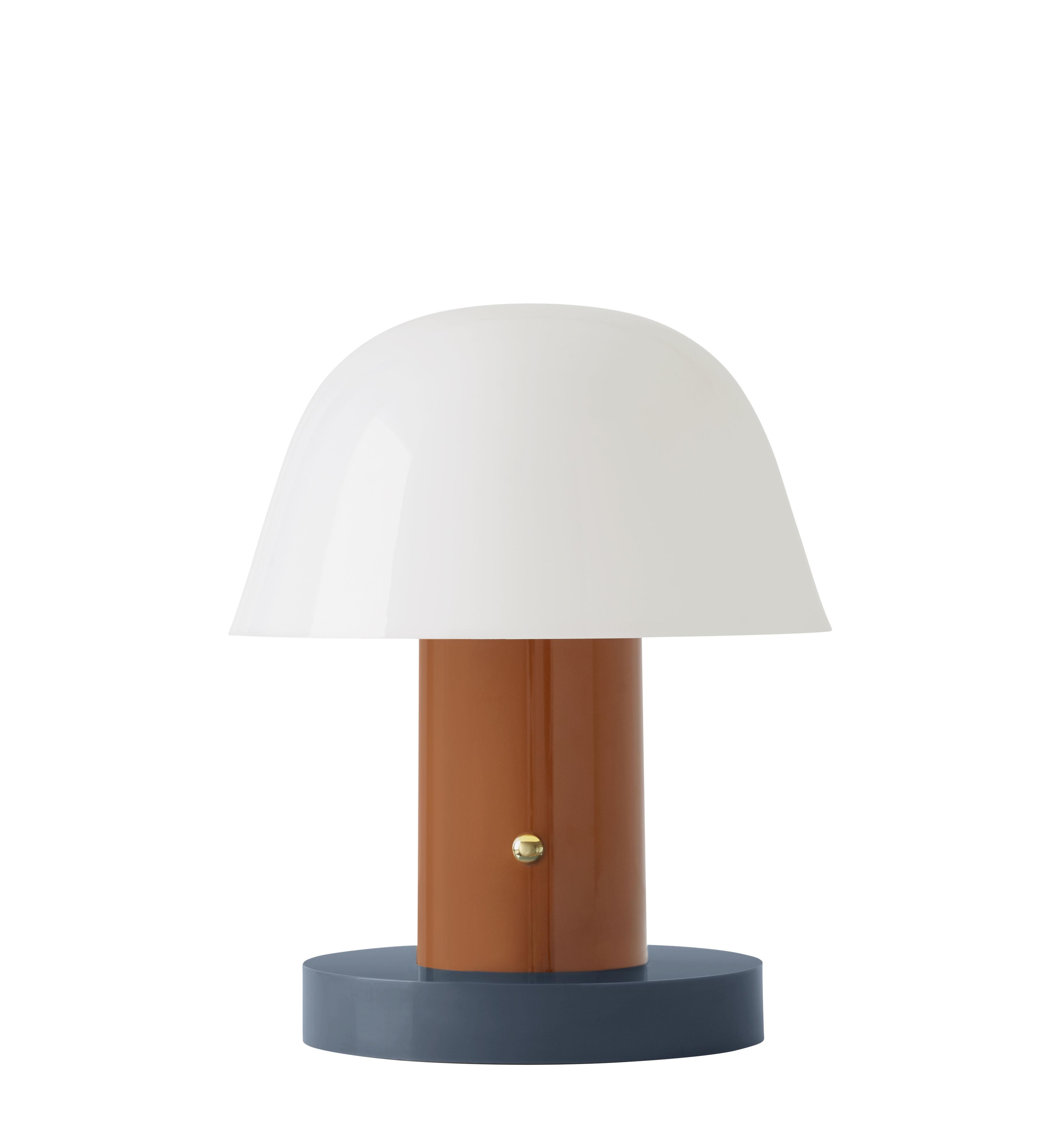 Leuchten - Tischleuchten - Setago  JH27 Lampe ohne Kabel / LED - by Jaime Hayon - &tradition - Rostrot / Blauer Sockel - Polycarbonate moulé