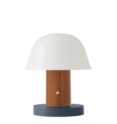 Luminaire - Lampes de table - Lampe sans fil Setago  JH27 / by Jaime Hayon - &tradition - Rouille / Base bleue - Polycarbonate moulé