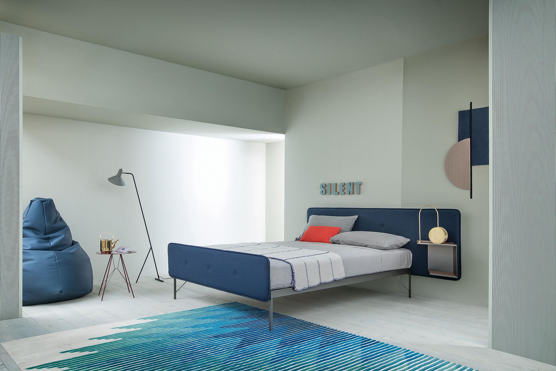 Letto doppio Hotel Royal Zanotta - Tessuto blu / Top cuoio dorato ...