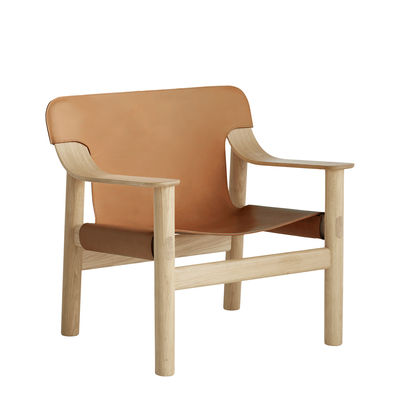 Furniture - Armchairs - Bernard Low armchair - / Leather by Hay - Cognac Leather / Light wood - Moulded oak plywood, Semi-aniline leather, Solid oak
