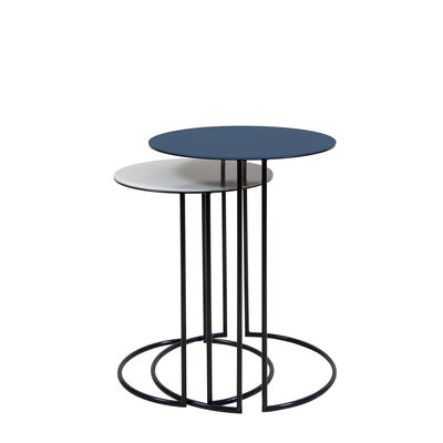 Furniture - Coffee Tables - Tokyo Nested tables - / Ø 40 & Ø 34 cm - Steel by Maison Sarah Lavoine - Sarah blue & cream - Powder coated steel
