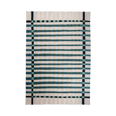 Decoration - Rugs - Vichy Outdoor rug - / 200 x 300 cm - Recycled plastic fibre by Maison Sarah Lavoine - Sarah blue - Recycled synthetic fibre
