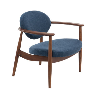 Furniture - Armchairs - Roundy Padded armchair - / Fabric & wood by Pols Potten - Dark blue / Wood - Fabric, Foam, Varnished ashwood